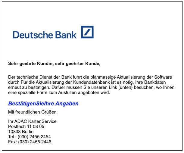 Fake Bank Daten
