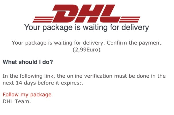 2020-04-25 DHL Spam-Mail Abofalle Your Package ls Waiting For Delivery