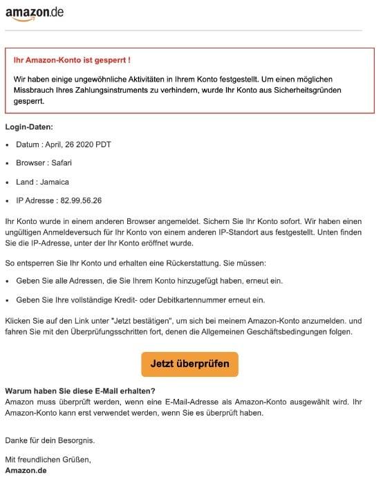2020-04-26 Amazon Spam-Mail Konto gesperrt