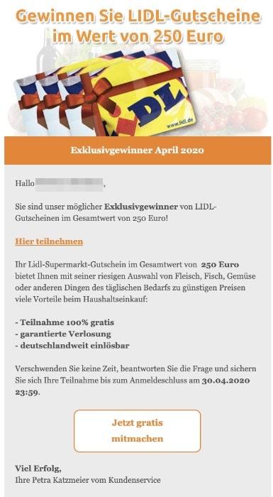 2020-04-26 Lidl Spam-Mail Gutscheine 250 Euro
