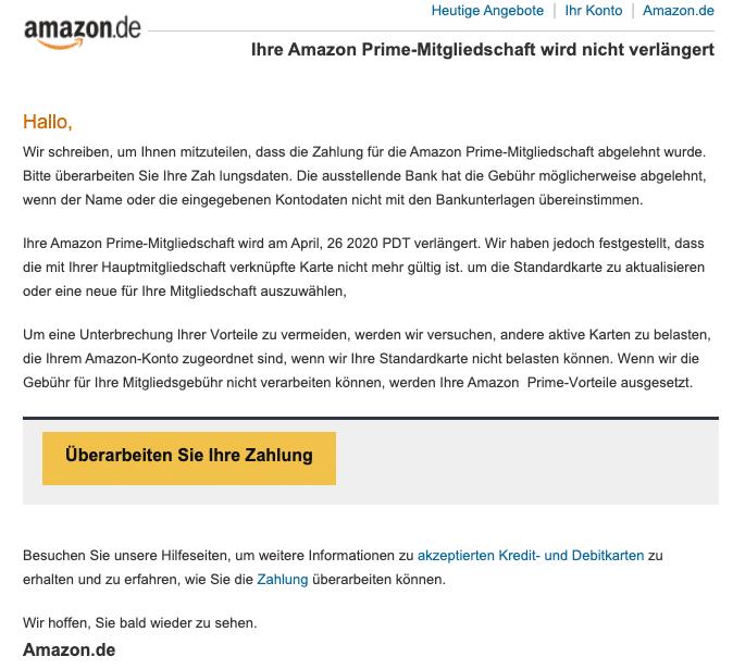 2020-04-27 Amazon Spam-Mail Prime Mitgliedschaft Rechnungen Zahlungen Transaktionen Kauf von