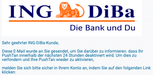 2020-04-27 ING Diba Spam-Mail Phishing wichtig kundeninformation