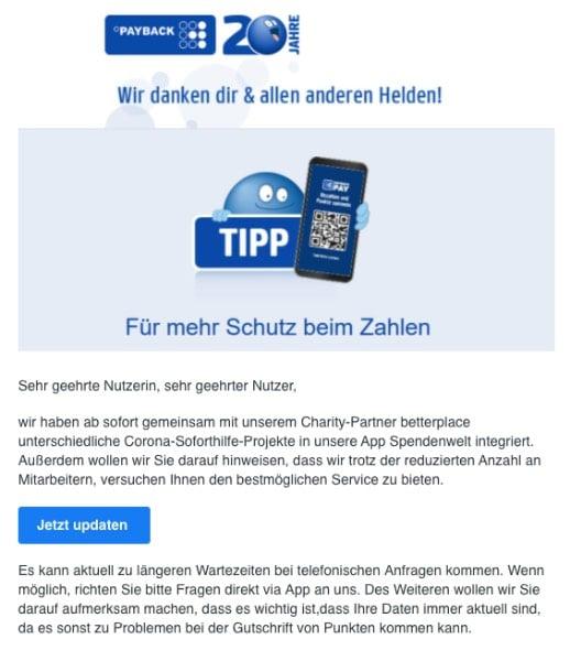 2020-04-27 Payback SPam-Mail Phishing Bleibt gesund - Wichtige Informationen aus dem Handel