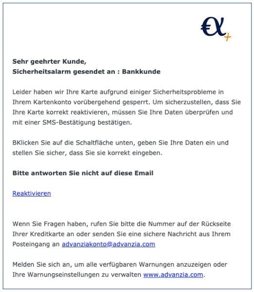 2020-04-28 Advanzia Spam Fake-Mail In Ihrem Konto ist ein betruegerischer Fehler aufgetreten