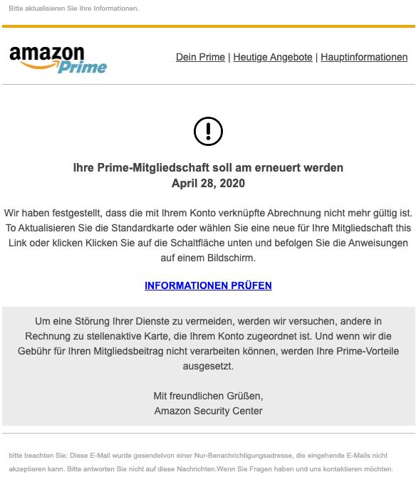 2020-04-28 Amazon Phishing Mail Abrechnung wurde gefunden Ueberpruefen Sie Ihre Angaben