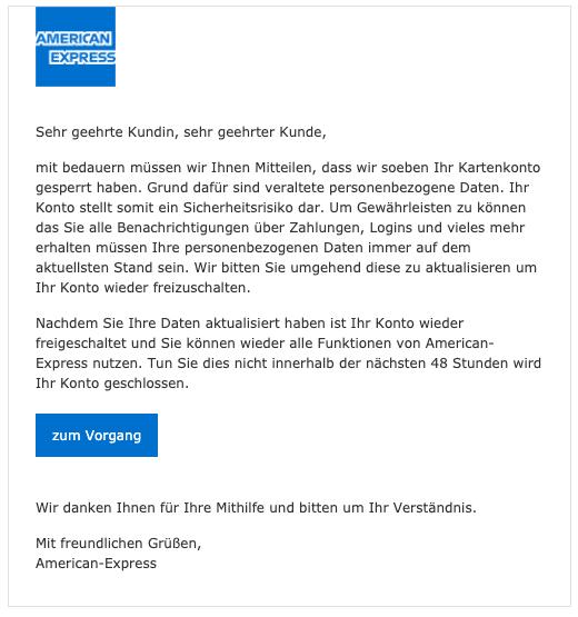 2020-04-28 American Express Spam Fake-Mail Schliessung Konto