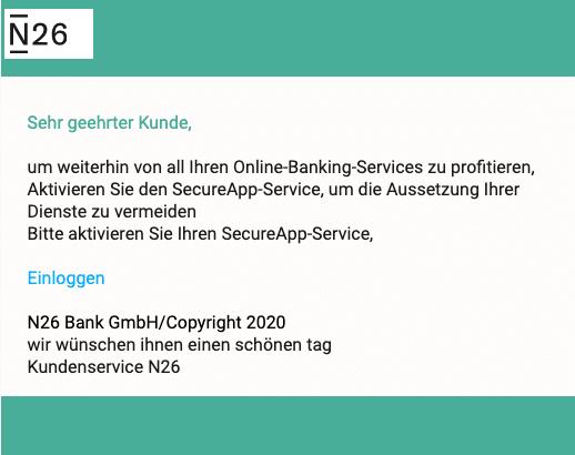 2020-04-30 N26 Bank Spam Fake-Mail Neue Warnung