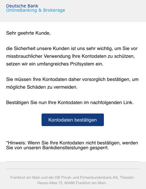 2020-05-04 Deutsche Bank Spam Phishing Wichtiger Sicherheitshinweis