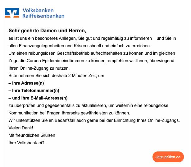 2020-05-04 Volksbank Spam Fake-Mail Informationen ueber die Schrittweise Oeffnung