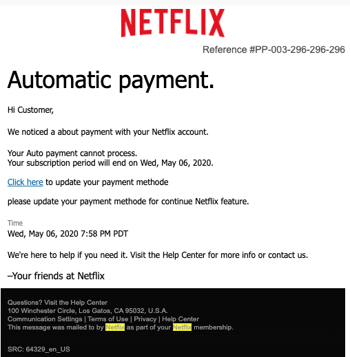 2020-05-07 Netflix Spam Fake-Mail Update About payment issued order placed
