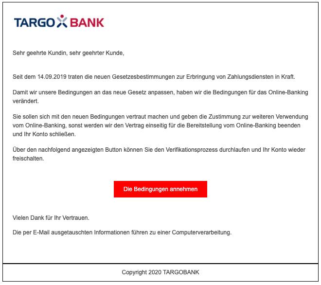 2020-05-08 Targobank SPam Fake-Mail Ueberpruefung Ihrer Daten