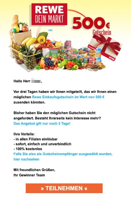 2020-05-13 Rewe Spam-Mail Herzliche Glueckwuensche Ihr 500 Euro Rewe Gutschein