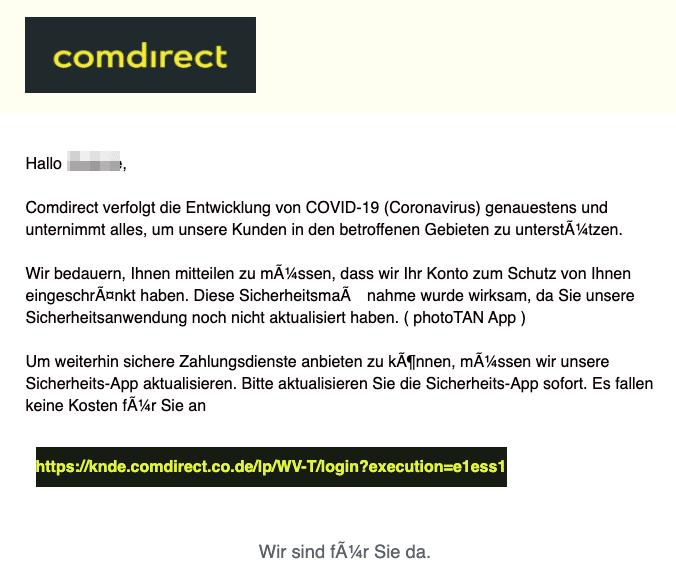 2020-05-14 Comdirect Spam Fake-Mail postbox Sie haben neue Comdirect news