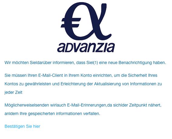 2020-05-15 Advanzia Spam-Mail Neue Benachrichtigung von Advanzia