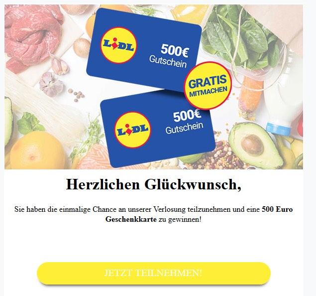 2020-05-18 Lidl Spam Fake-Mail Wir haben eine Ueberraschung für Lidl Shopper