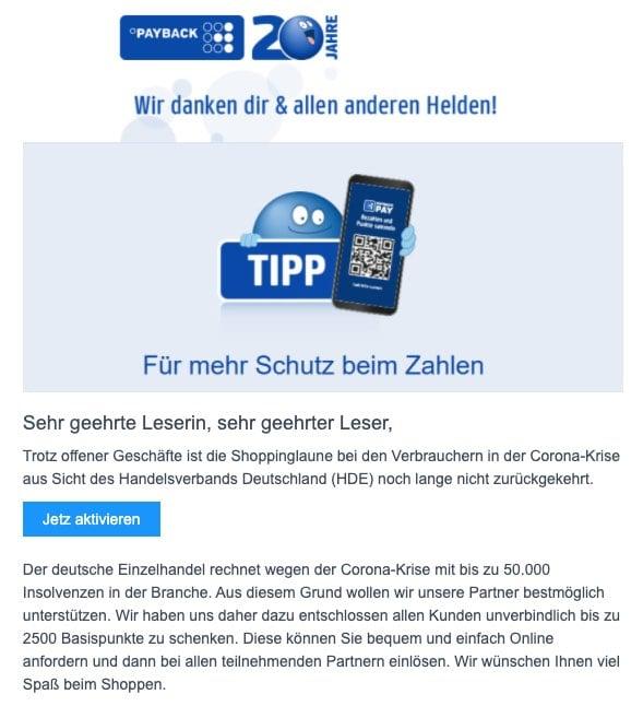 2020-05-25 Payback Fake-Mail Jetzt Profitieren mit der App Jetzt mobil und online mehrfach Punkte sammeln