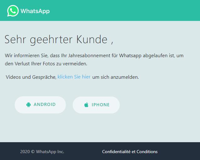 2020-06-03 WhatsApp Fake-Mail SpamIhr abgelaufenes Abonnement