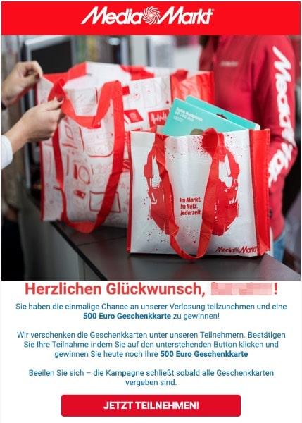 2020-06-24 Mediamarkt Spam Fake-MailSehr geehrter mediamarkt -Kunde