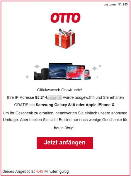 2020-06-25 Otto-de Spam-Mail Ihr Geschenk wartet auf Ihre Bestaetigung