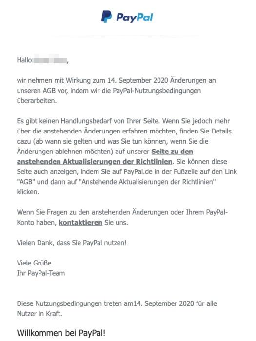 2020-07-06 PayPal E-Mail Anstehende Aenderungen der AGB von PayPal