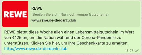 2020-08-13 WhatsApp Nachricht REWE 125 Euro