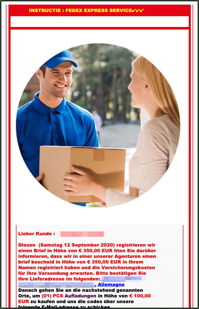 2020-09-14 Fedex Spam Mail
