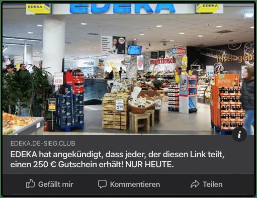 Facebook KEttenbrief Edeka 250 Euro Gutschein