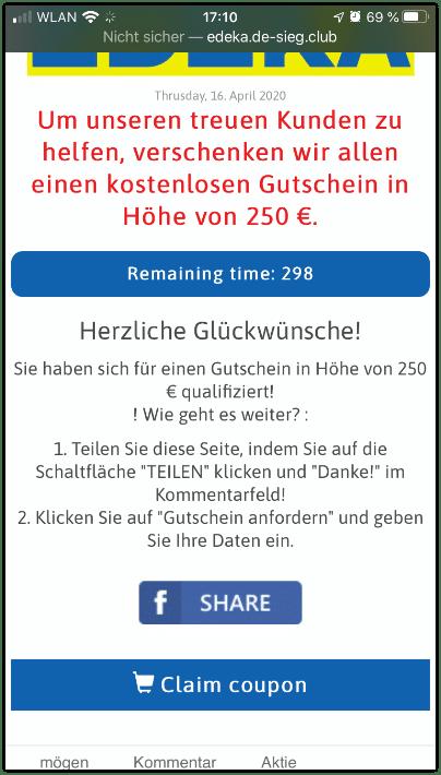 Facebook KEttenbrief Edeka 250 Euro Gutschein2