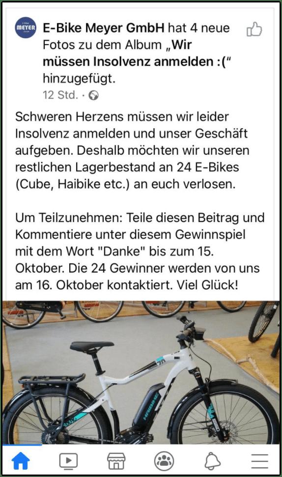 FacebookGewinnspiel E-Bike Meyer GmbH