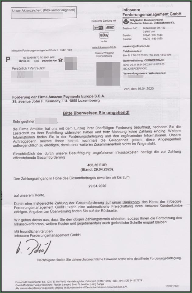 Infoscore Forderungsmanagement GmbH Schreiben Amazon
