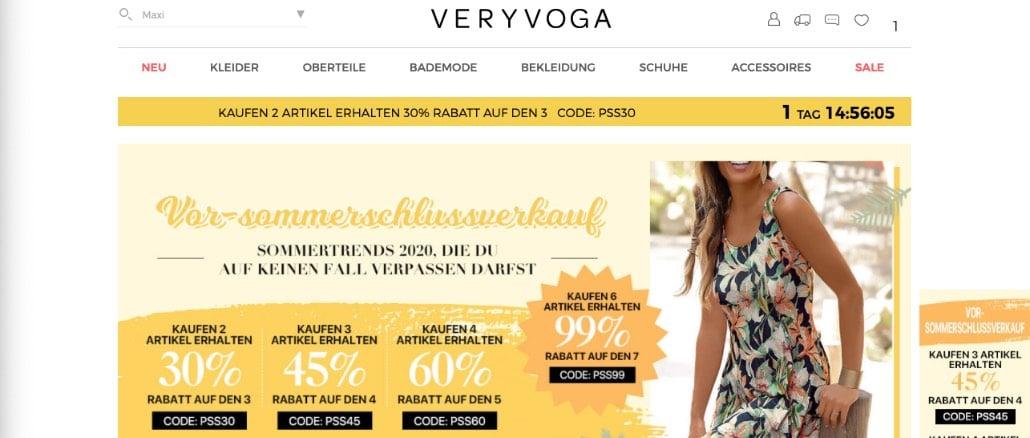 veryvoga.de Onlineshop Bewertungen Erfahrungen Probleme