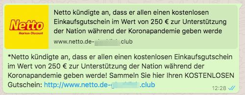 2020-05-02 Netto Kettenbrief WhatsApp 250 Euro Lebensmittel