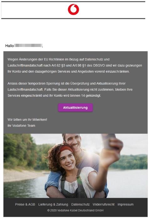 2020-05-05 Vodafone Spam Fake-Mail Bevorstehende Kündigung an - Bearbeitungsnummer