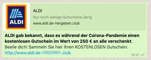 2020-05-05 WhatsApp Kettenbrief Aldi 250 Euro Gutschein
