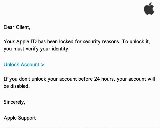2020-05-06 Apple Phishing-Mail Apple ID Locked