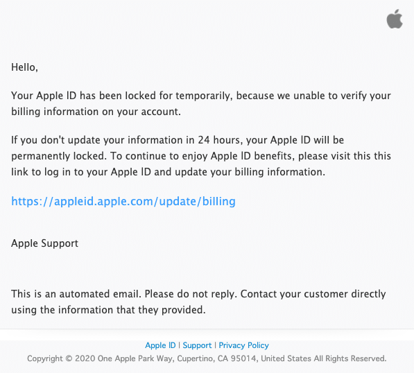 2020-05-06 Apple Spam Fake-Mail Action Required- Your account has been Iocked for security reason