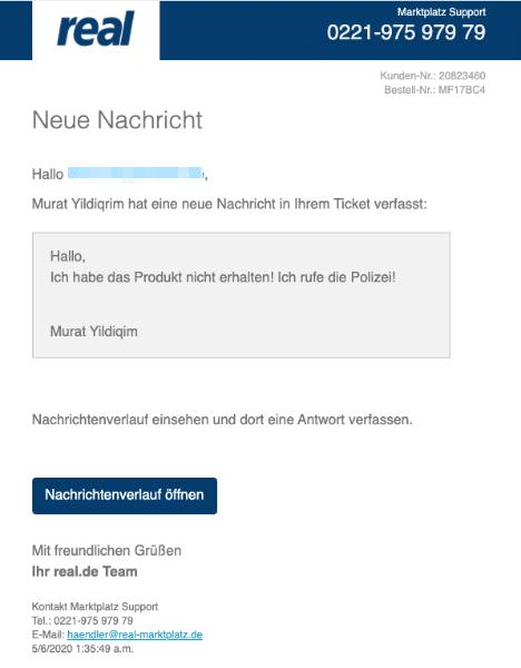 2020-05-06 Real Fake-Mail Spam Marktplatz Support - Murat Yildiqrim hat eine neue Nachricht in Ihrem Ticket verfasst