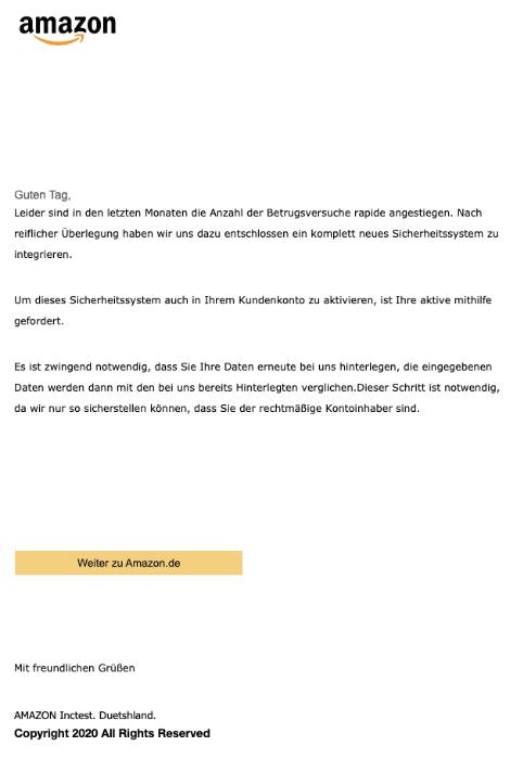 2020-05-07 Amazon Spam-Mail Fake Ihr Handeln ist erforderlich