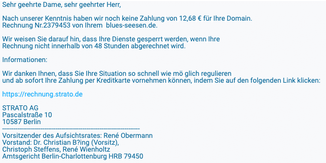 2020-05-08 Strato Spam Fake-MailLoeschung Ihres Domainnamens