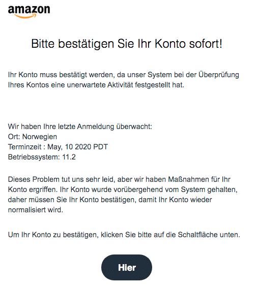 2020-05-10 Amazon Spam-Mail Fake Benachrichtigung vom Support-Team