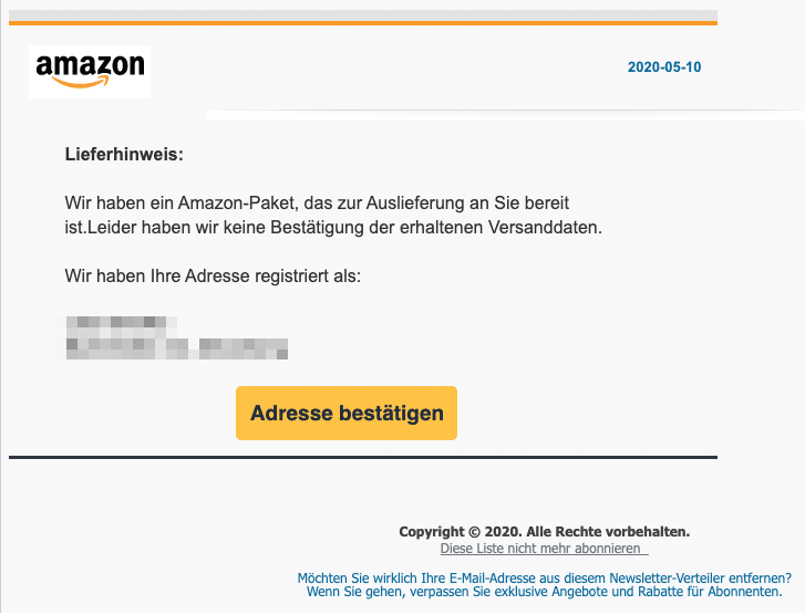 2020-05-11 Amazon Spam-Mail Amazon Kommt bald an