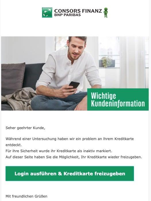 2020-05-11 Consors Bank Spam Fake-Mail Ihre Kreditkarte ist gesperrt