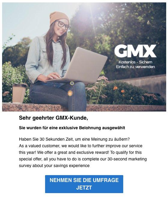 2020-05-11 GMX Spam Fake-Mail Holen Sie sich die Chance eine exklusive Belohnung zu gewinnen