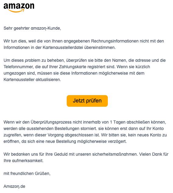 2020-05-12 Amazon SPam Fake-Mail Wir haben einen Fehler in Ihren Kontoinformationen festgestellt