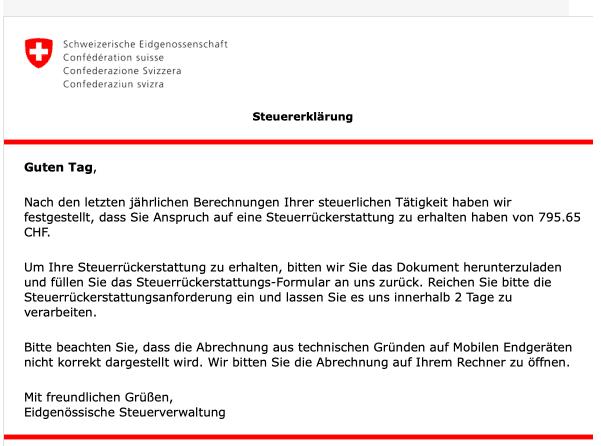 2020-05-13 Schweizerische Eidgenossenschaft Spam Fake-Mail Steuerrueckzahlung