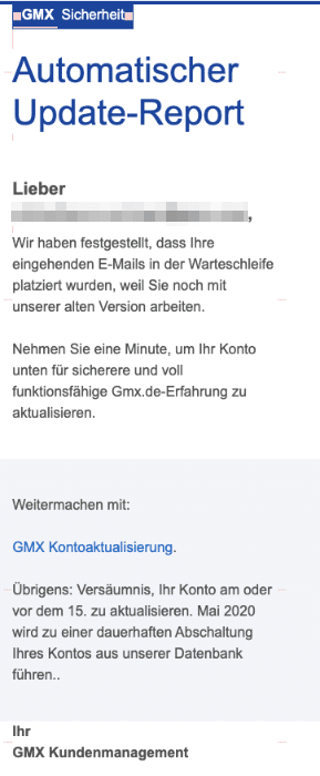 2020-05-14 GMX Spam-Mail DO NOT REPLY GMX GMX-Update erforderlich