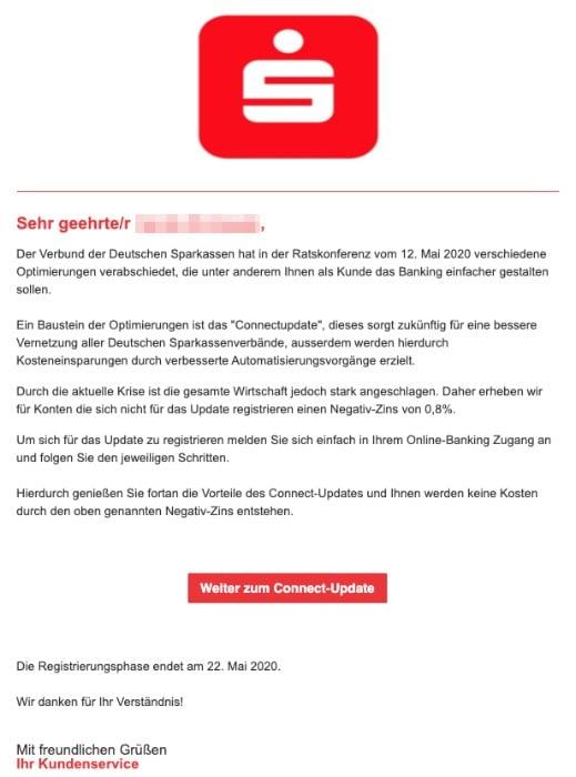 2020-05-14 Sparkasse Spam Fake-Mail Wichtige Nachricht zu Ihrem Konto