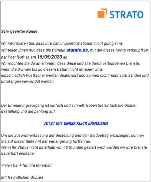 2020-05-15 Strato Fake-Mail Ihre Zahlung wurde nicht autorisiert