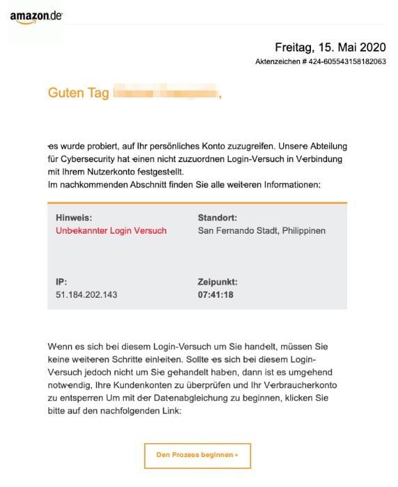 2020-05-18 Amazon Fake-Mail Neue Mitteilung