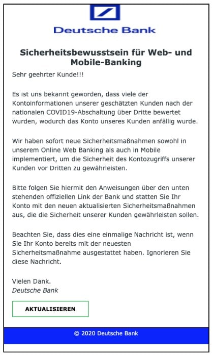 2020-05-18 Deutsche Bank Spam Fake-Mail COVID-19
